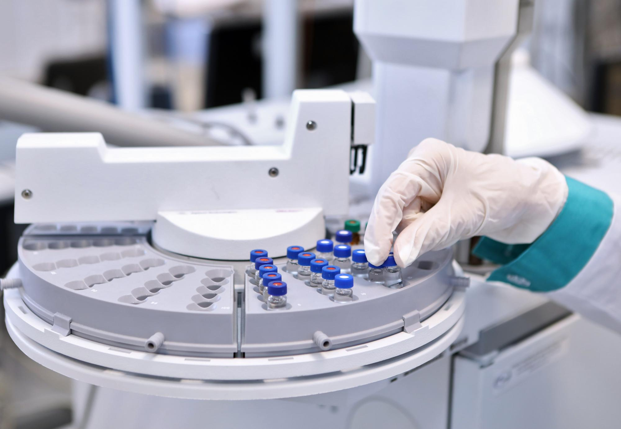 Vaccine manufacturing equipment in operation