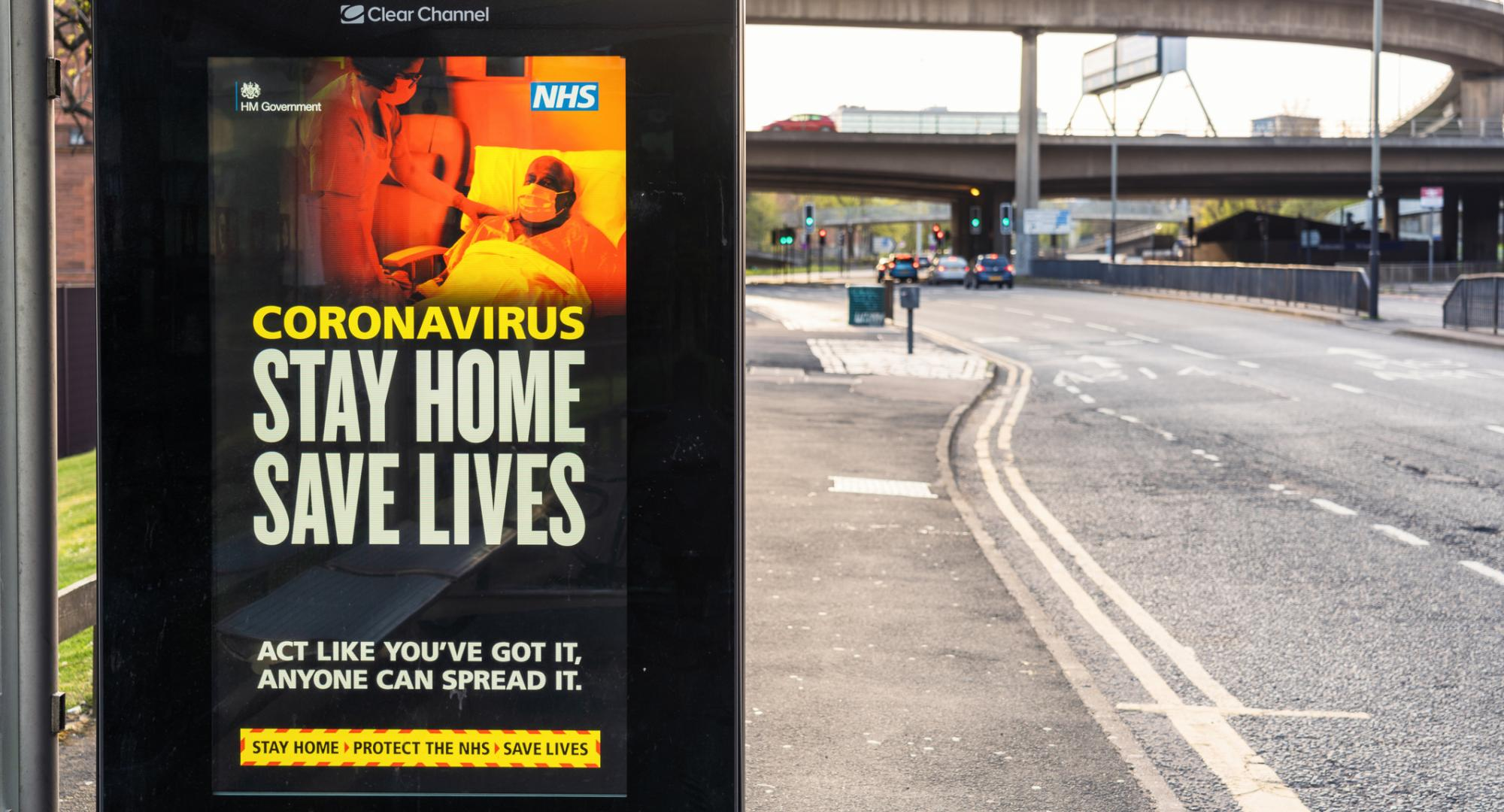 Coronavirus advert on bus stand in the UK