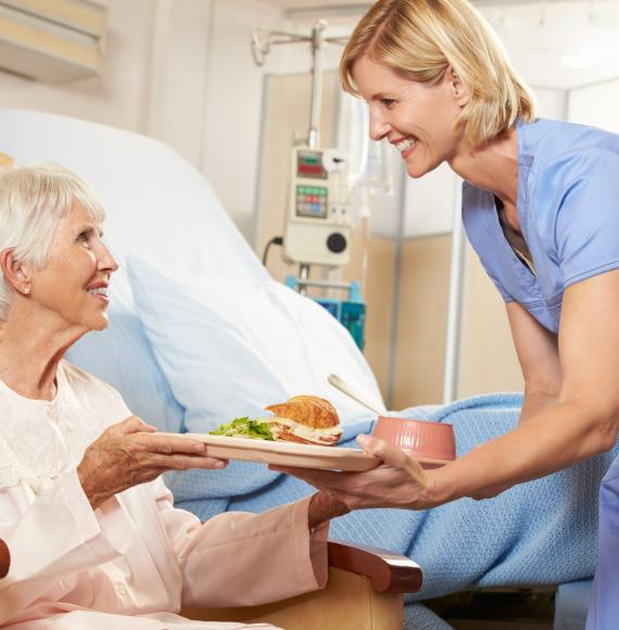 Hospital patient with food