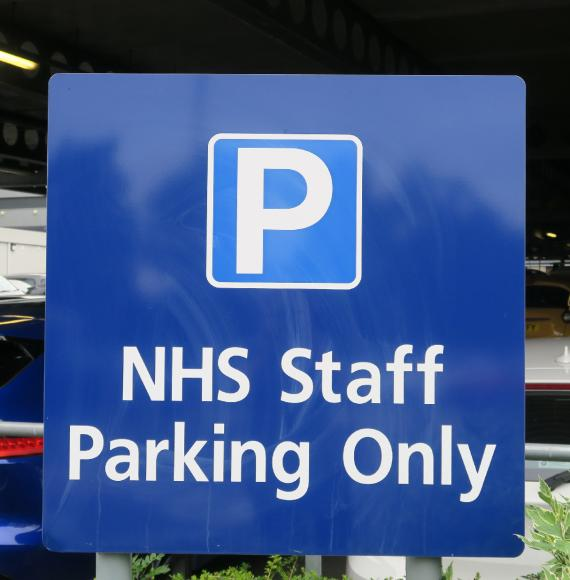 NHS Staff Parking Only sign