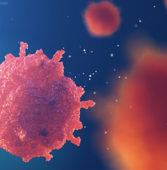 Artist impression of a blood cancer cell close up