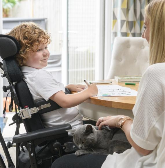 Disabled child receiving support from a family member