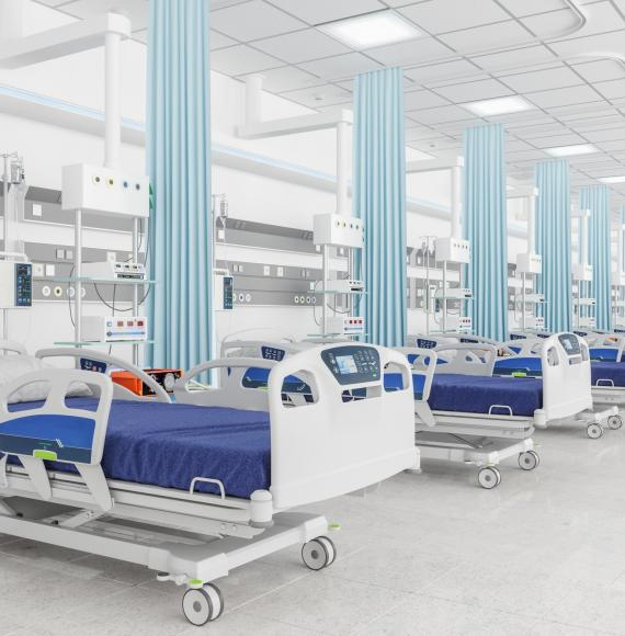 Hospital beds in a makeshift ward